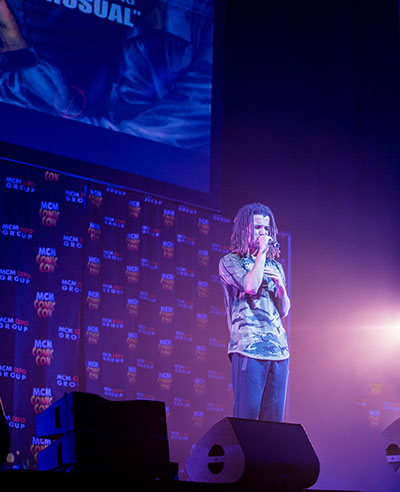 Akala performing an excerpt from his graphic novel 'Visions' at London Comic Con  Photo by Solaris2.com