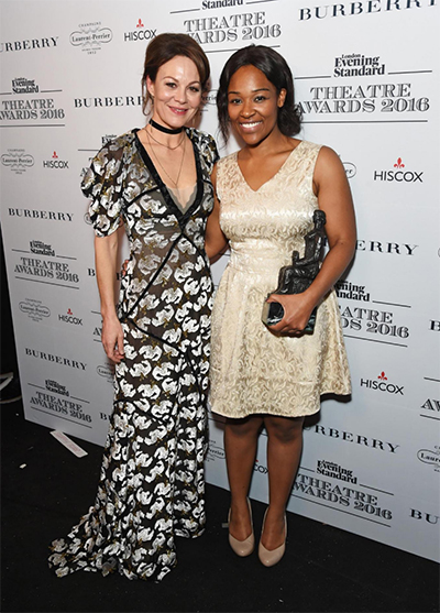 (R) Charlene James, winner of the Charles Wintour Award for Most Promising Playwright, with Helen McCrory (L) Photo: Dave Benett