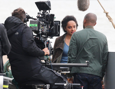 On set with Karla Crome & Noel Clarke in ITV's The Level