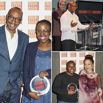 (l-r) Michael Buffong with Best Play winner Lorna French; Roland Rees Bursary winner Courttia Newland; Audience Award winner May Sumbwanyambe Photo credit: Ed Miles
