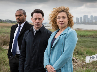 Noel Clarke as DCI Carl Pryor alongside Reece Shearsmith and Alex Kingston in ITV's 'Chasing Shadows'