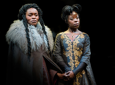 Rakie Ayola as 'Goneril' and Debbie Korley as 'Regan' in Talawa production of King Lear @ Royal Exchange Theatre, Manchester. Photo credit: Jonathan Keenan