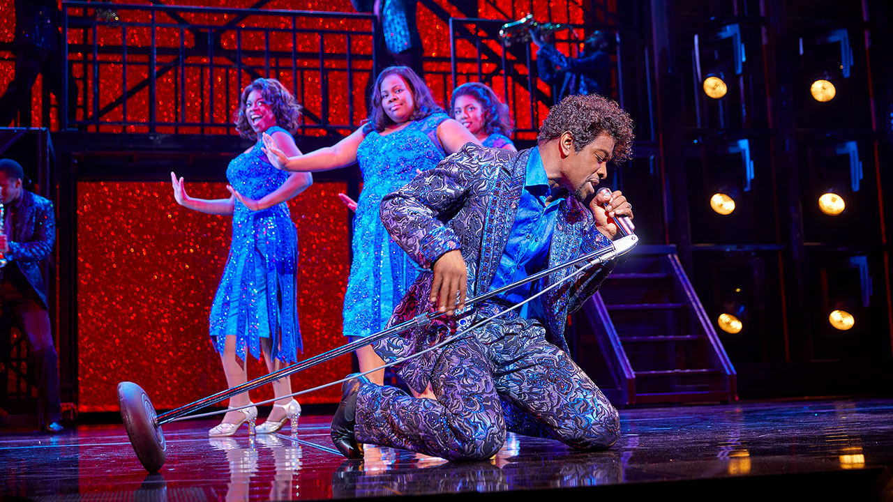 Adam J.Bernard and (l-r) Ibinabo Jack, Amber Riley and Liisi LaFontaine in Dreamgirls at the Savoy Theatre Credit: Brinkhoff Mögenburg