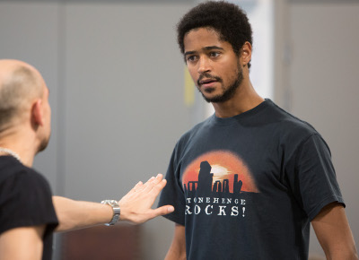 (l-r) Fraser Ayers & Alfred Enoch in rehearsal for King Lear at The Royal Exchange Theatre, Manchester.