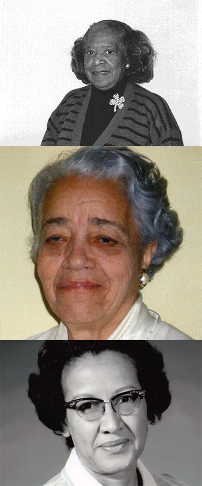 (t-b) Mary Jackson, Dorothy Vaughan & Katherine Johnson