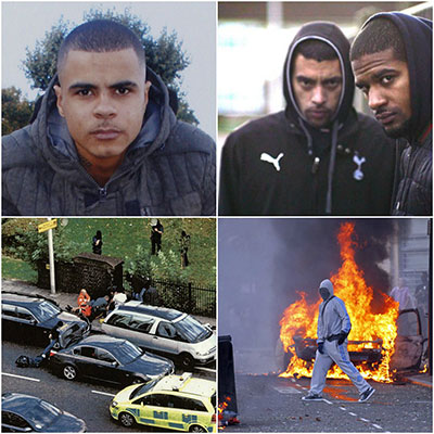 (l-r) Mark Duggan, Marcus Knox-Hooke & Kurtis Henville, scenes after Mark Duggan's shooting, 2011 London Riots