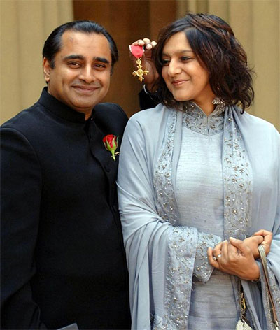 Sanjeev Bhaskar and his wife Meera Syal, Buckingham Palace, after he received an OBE for services to entertainment. (Photo: Stefan Rousseau/WPA Rota/PA)
