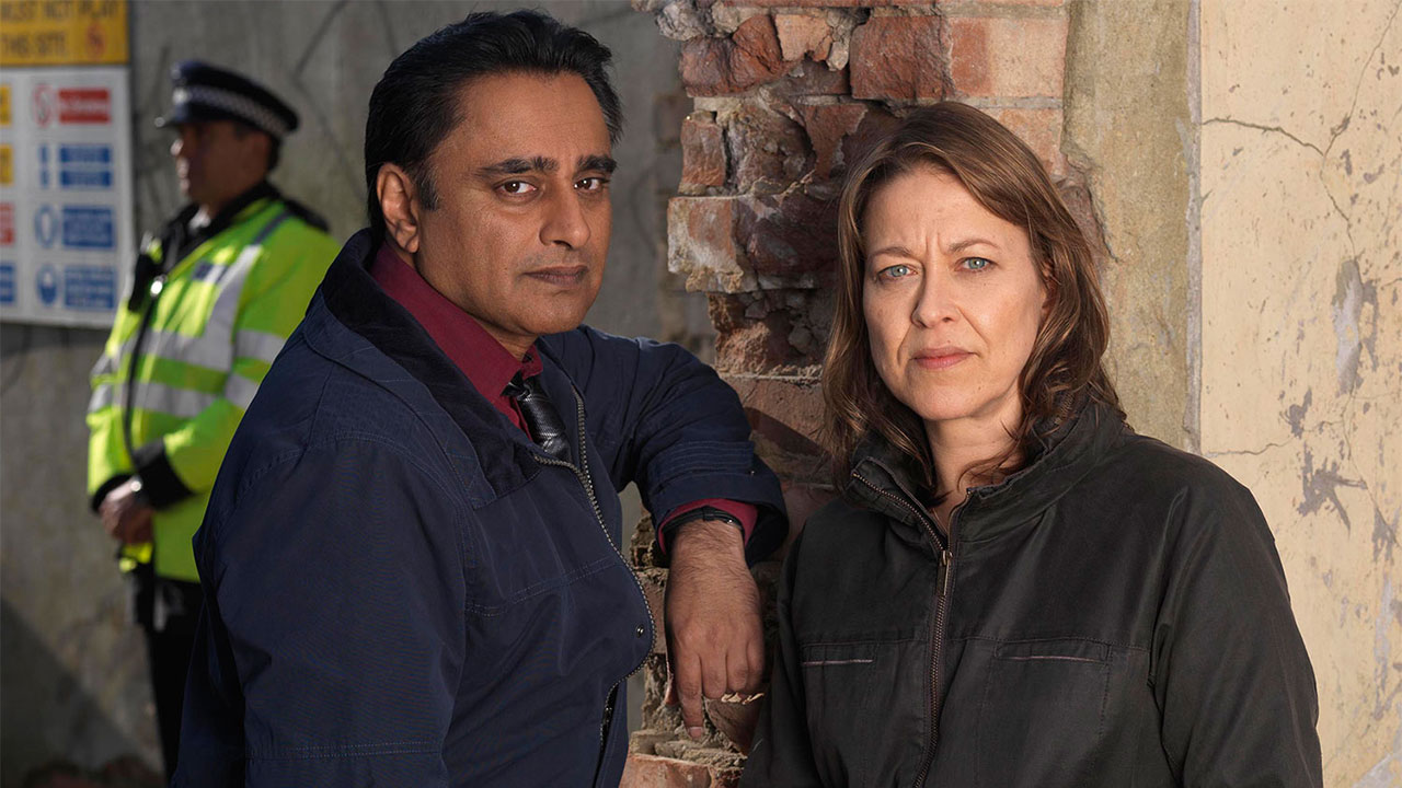 Sanjeev Bhaskar and co-star Nicola Walker, in ITV's Unforgotten.