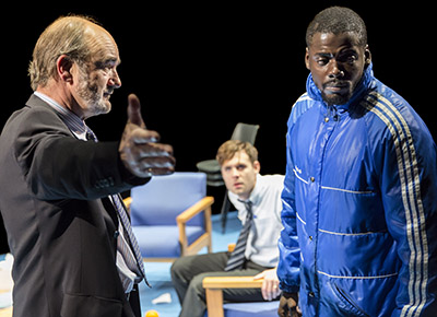 (l-r) David Haig (Robert), Luke Norris(Bruce), Daniel Kaluuya (Christopher) in Blue Orange at the Young Vic © Johan Persson