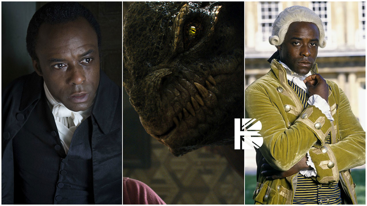 (l-r) Ariyon Bakare as: Stephen Black in Jonathan Strange & Mr Norrell (2015); Greeghan in Jupiter Ascending (2015); Mehuru in A Respectable Trade (1998)