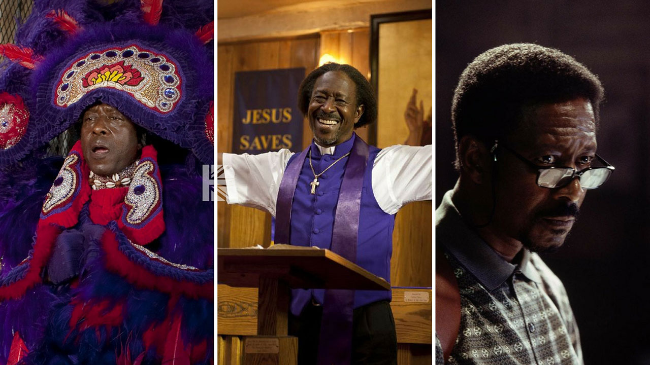 (l-r) Clarke Peters as  Ralph Coates in Jericho (2016); Da Good Bishop Enoch Rouse in Red Hook Summer (2012); Lester Freamon in The Wire (2002-2008)